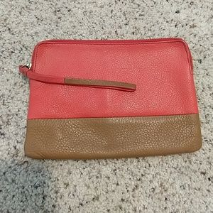 Coral and brown clutch